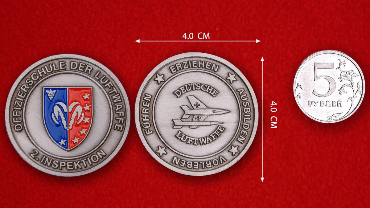"""Herausforderungs-Münze """"Offizierschule der Luftwaff"""" - Vergleichsgröße"""