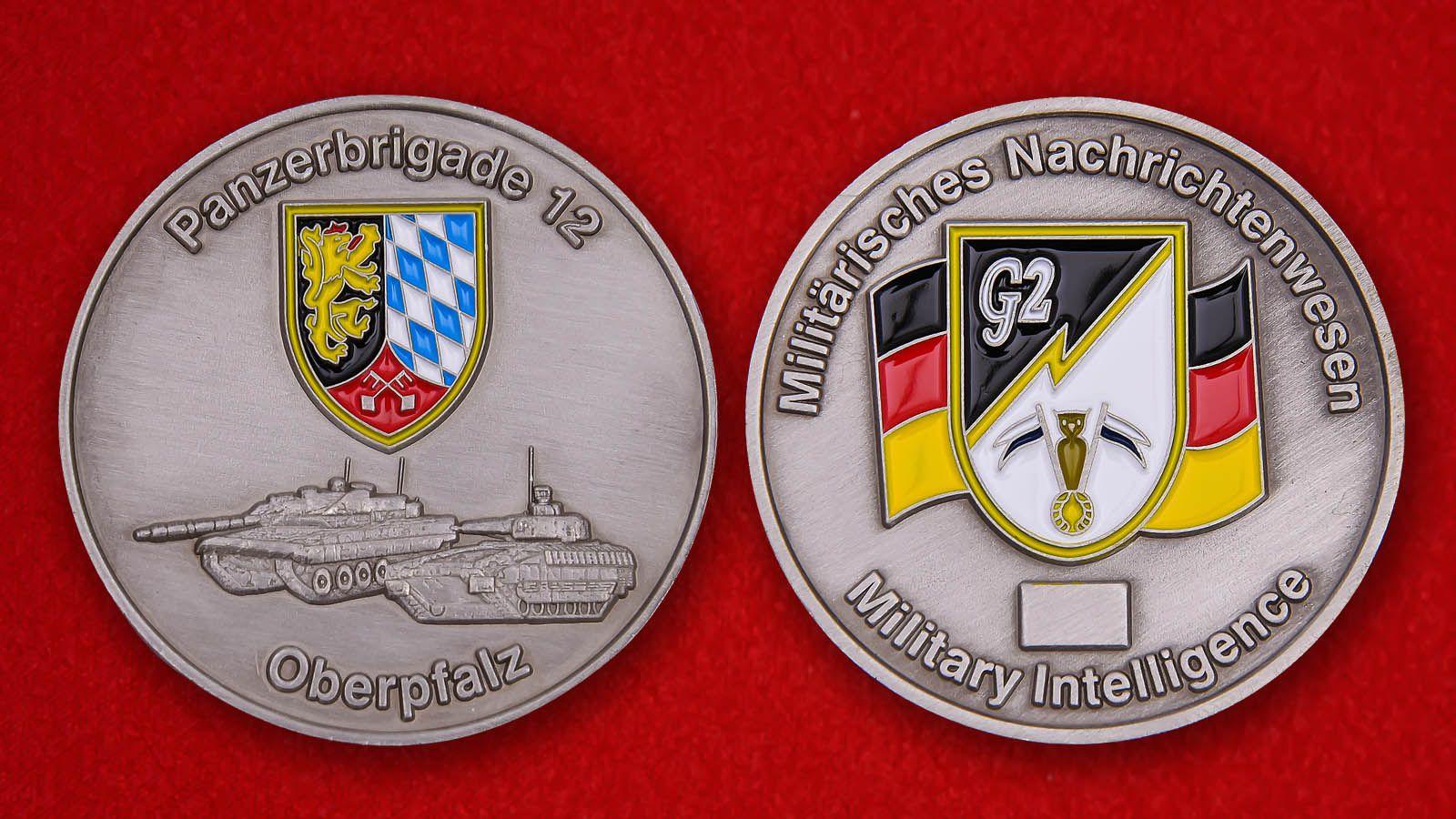"""Herausforderungs-Münze """"Panzerbrigade 12 Oberpfalz"""" - Vorderseite und umgekehrt"""