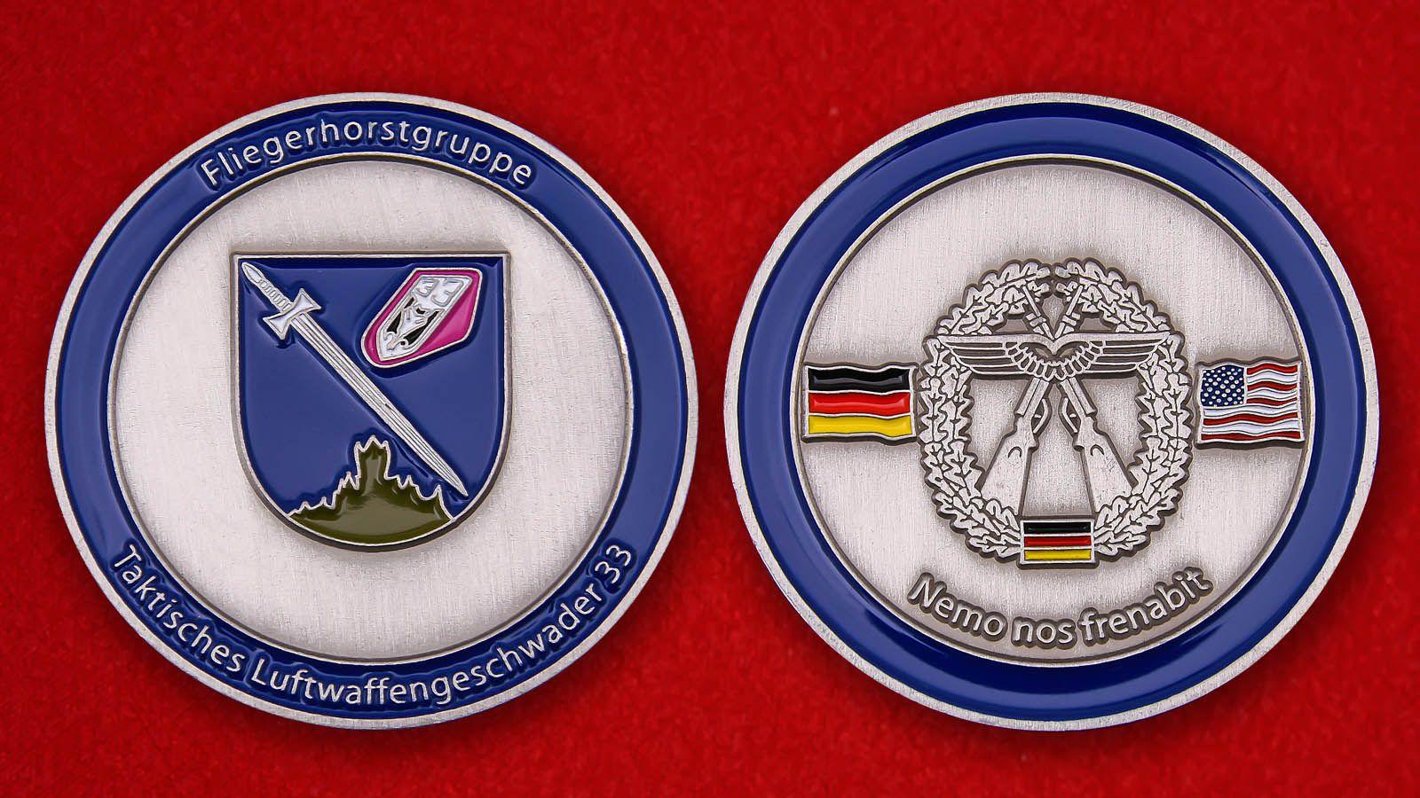 """Herausforderungs-Münze """"Taktisches Luftwaffengeschwader 33"""" - Vorderseite und umgekehrt"""