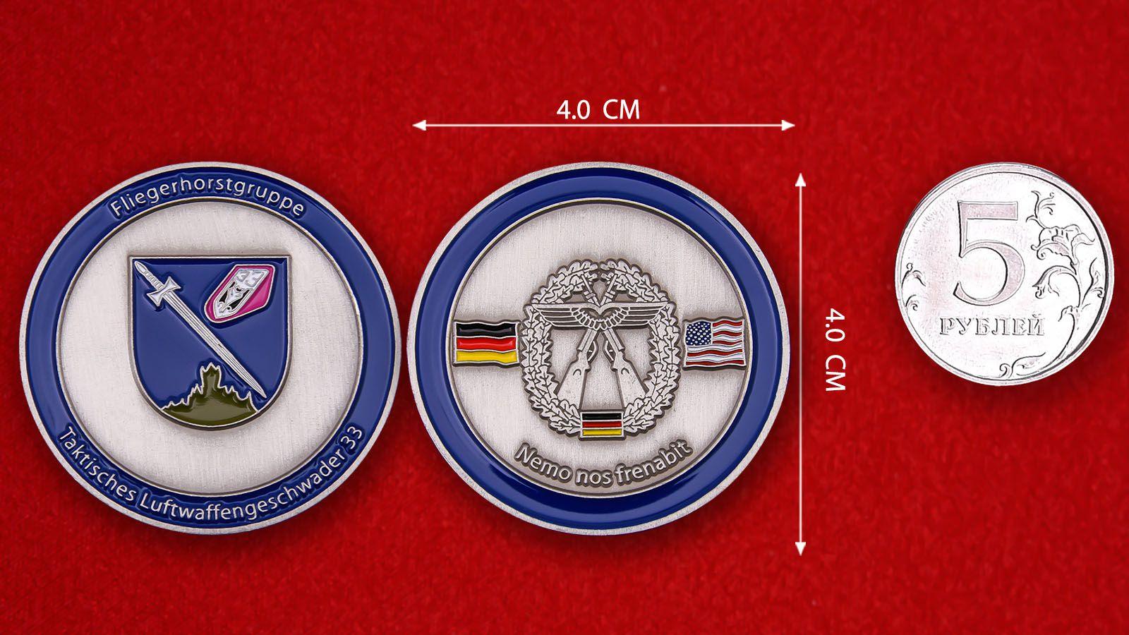 """Herausforderungs-Münze """"Taktisches Luftwaffengeschwader 33"""" -  Vergleichsgröße"""