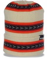 Изысканная безупречная женская шапка с жаккардовыми полосками и большим отворотом