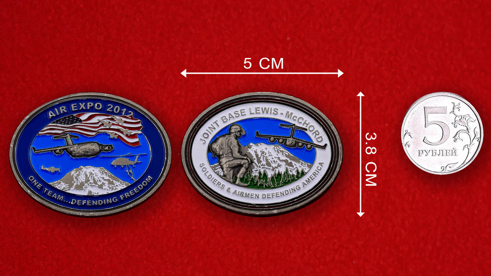 Joint Base Lewis-McChord Air Expo 2012 Challenge Coin - linear size