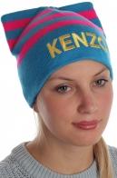 Колоритная трендовая шапка с модными ушками Kenzo очаровательным девчонкам
