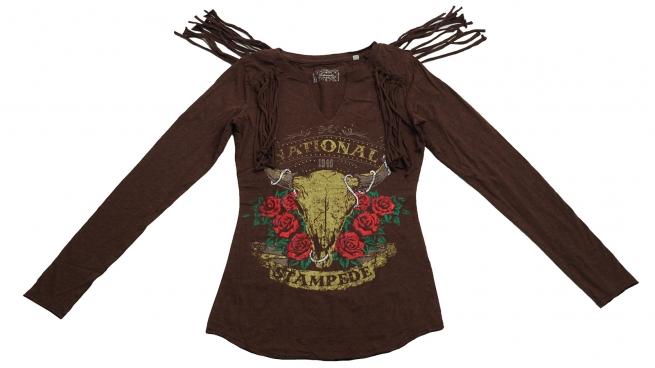 Коричневая кофточка с колоритным принтом бренда Panhandle и бахромой на плечах