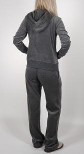 Женский костюм She (Италия) для дома, спорта, загородного отдыха и на каждый день. Модный графитово-велюровый отлив, практичный капюшон, карманы, удобные манжеты
