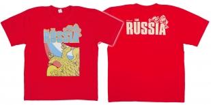 """Красная футболка с гербом """"Russia"""" с доставкой"""