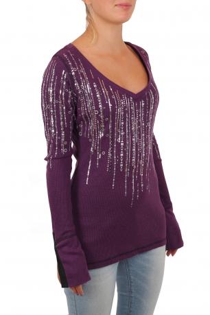 Крутой женский пуловер Rock and Roll Cowgirl. Женственное декольте и оригинальные рукава. Стиль для уверенных и сексапильных