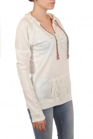 Легкая женская кофта-кенгурушка с капюшоном. Новинка от ТМ Panhandle: светло-кремовый цвет, этнические акценты и ажурный декор