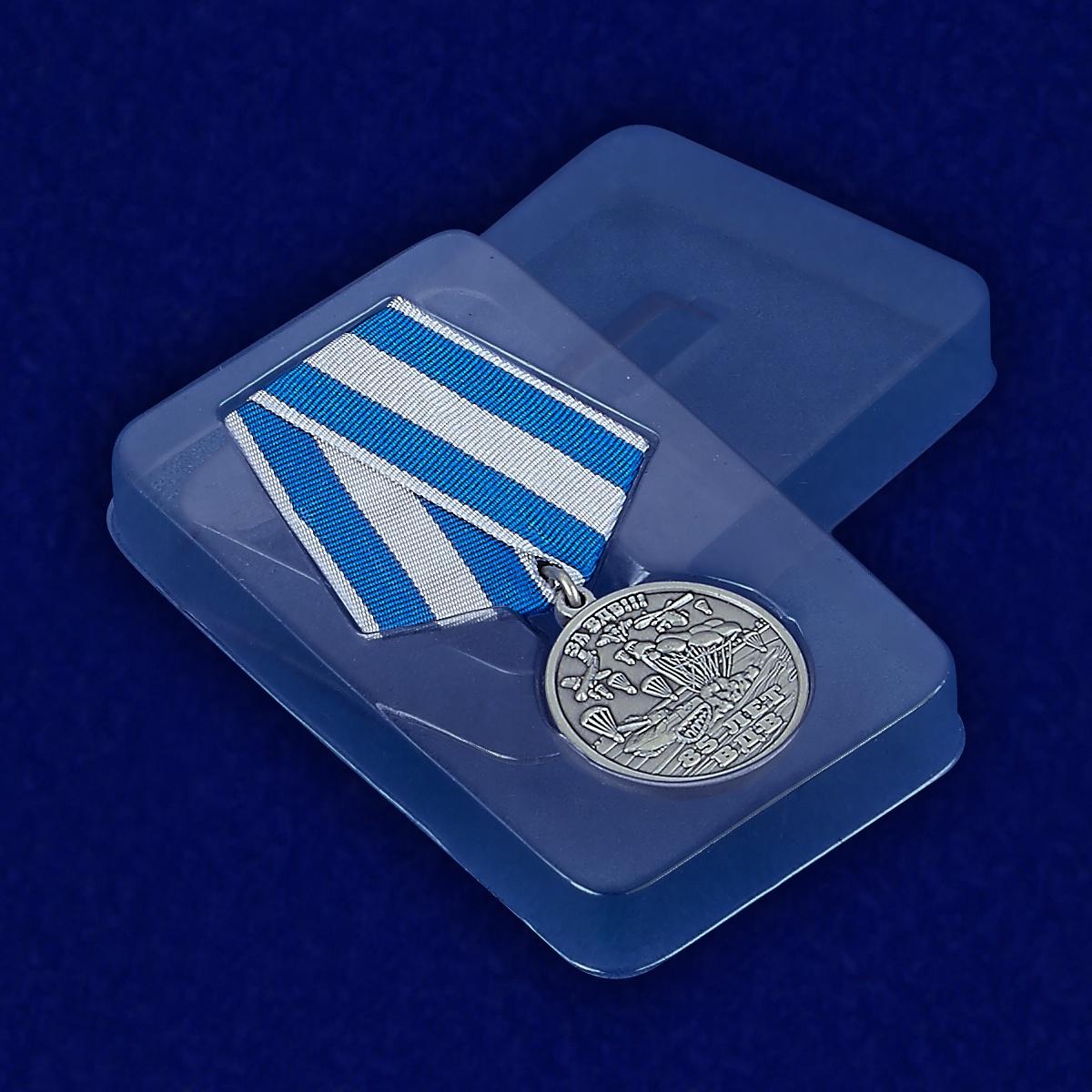 """Медаль """"85 лет ВДВ"""" с удостоверением - вид в футляре"""