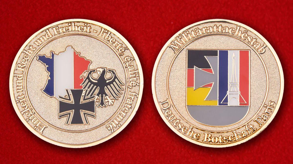 Militärattachestab Deutsche Botschaft Paris Herausforderungs-Münze - Vorderseite und umgekehrt