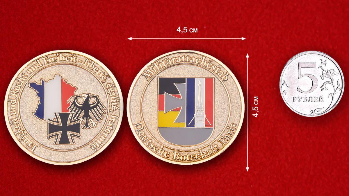 Militärattachestab Deutsche Botschaft Paris Herausforderungs-Münze - Vergleichsgröße
