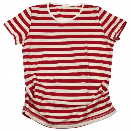 Модная футболка в красно-белую полоску из 100% хлопка. Актуальна всегда!