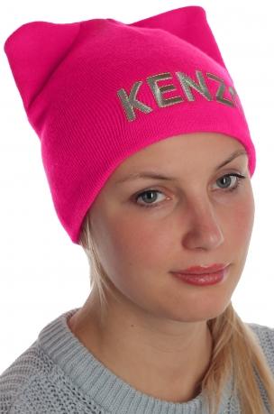 Модная и теплая женская шапка Kenzo. Эффектная модель для стильных красоток
