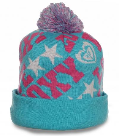 Молодежная шапка на флисе. Теплая и яркая модель для симпатичных девушек
