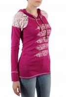Молодежный женский пуловер Panhandle с капюшоном и ажурными плечами. Оставайся индивидуальностью!