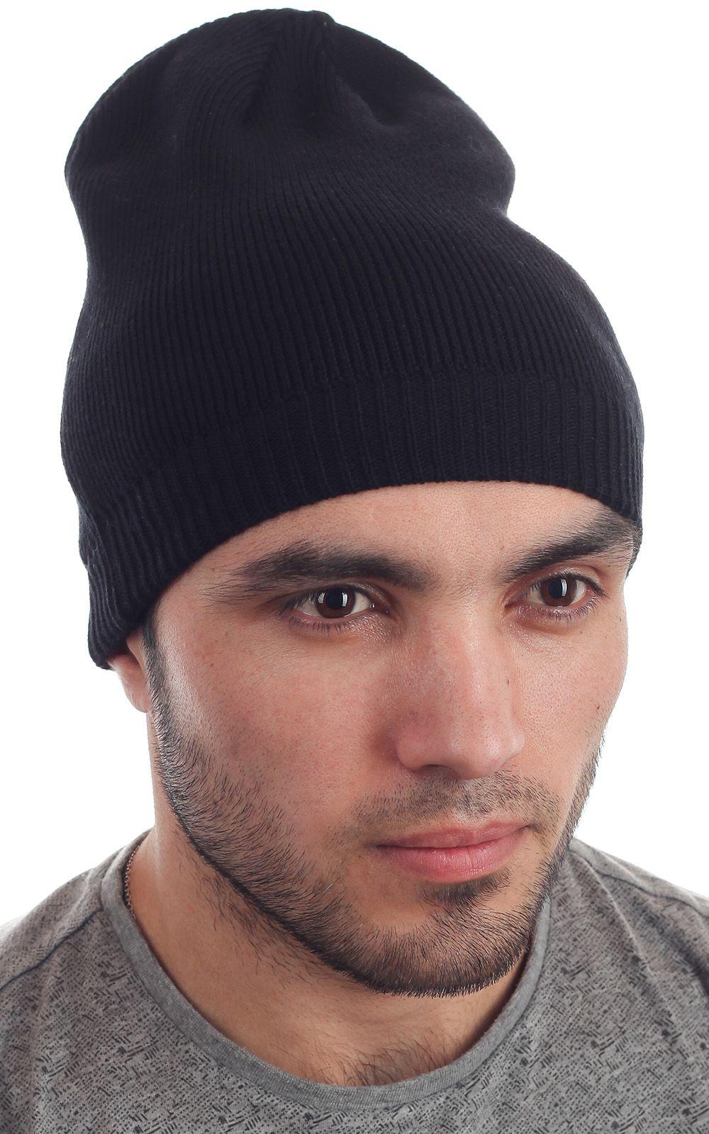 Черная вязаная мужская шапка-носок