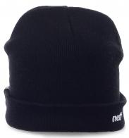 Мужская шапка Neff. Черная модель с подворотом -универсальный вариант