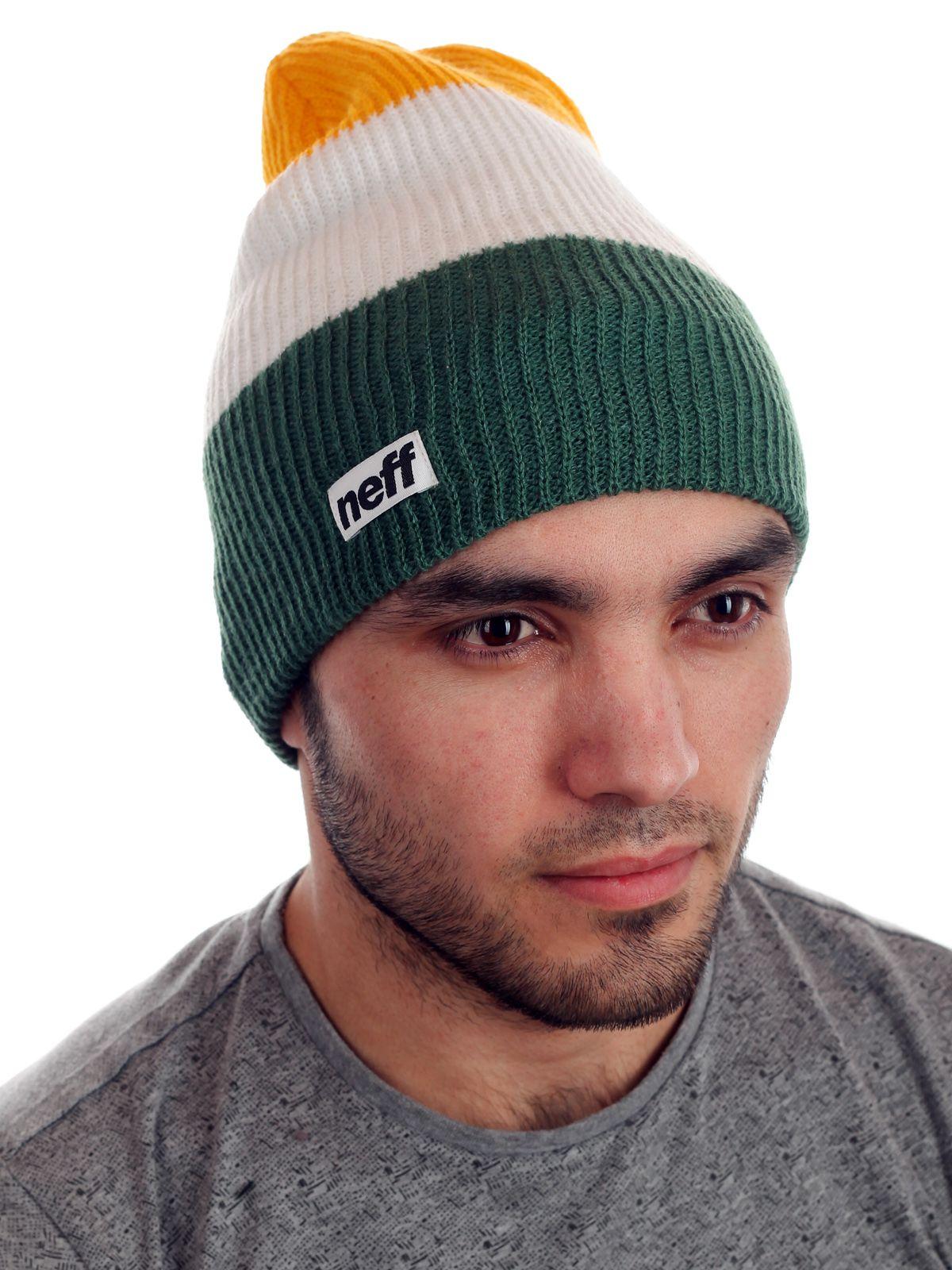 Мужская трехцветная шапка от Neff