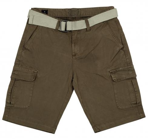 Мужские шорты с ремнем и карманами. Модная и практичная модель из 100% хлопка