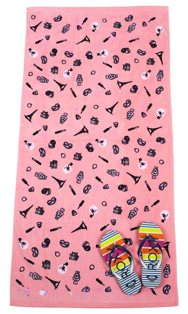 Мягкое розовое полотенце с мини принтами от Glamour Sea по выгодной цене