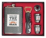 """Набор подарочный с фляжкой """"The Clever Man"""" (фляжка, 2 стопки, воронка, открывалка-штопор)"""