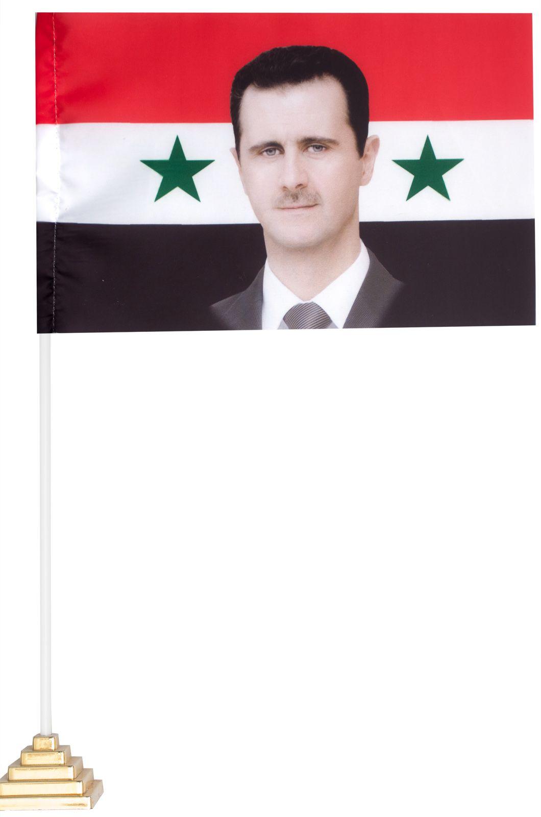 Настольный флаг Сирии с Асадом