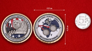 New York joint terrorism task force Challenge Coin - comparative size