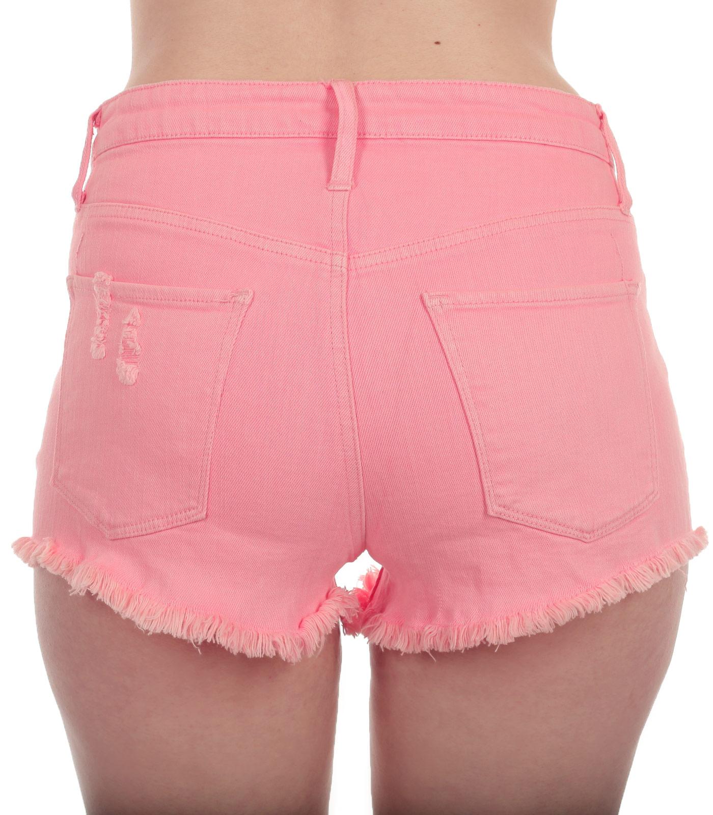 Купить мини шорты розового цвета с бахромой