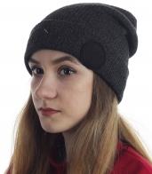 Однотонная женская шапочка с подворотом. Универсальная модель для спорта, отдыха и на каждый день