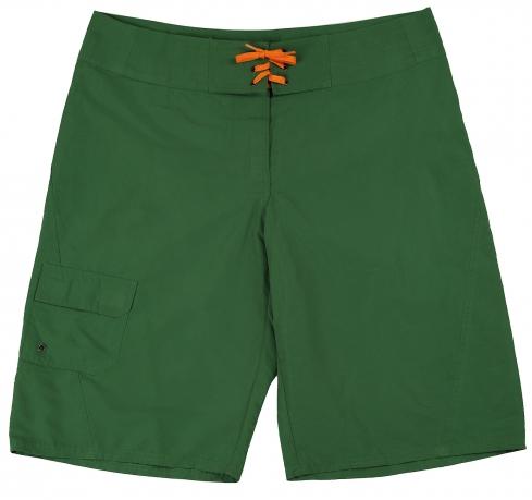 Однотонные зеленые шорты на шнуровке
