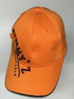 Оранжевая бейсболка с черной вышитой надписью