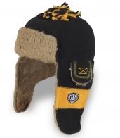 Креативная комбинированная шапка-ушанка – недорогая молодежная модель