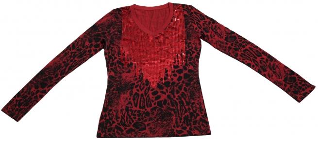 Ослепительная огненная кофточка из ткани с леопардовым принтом украшенная пайетками