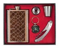 Подарочная фляга для алкоголя (фляжка, стопка, воронка, брелок, штопор)