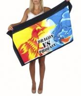 Эффектное пляжное полотенце с вечным противостоянием Dragon VS Phoenix