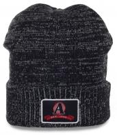Популярная мужская меланжевая шапка с отворотом для парней увлекающихся спортом