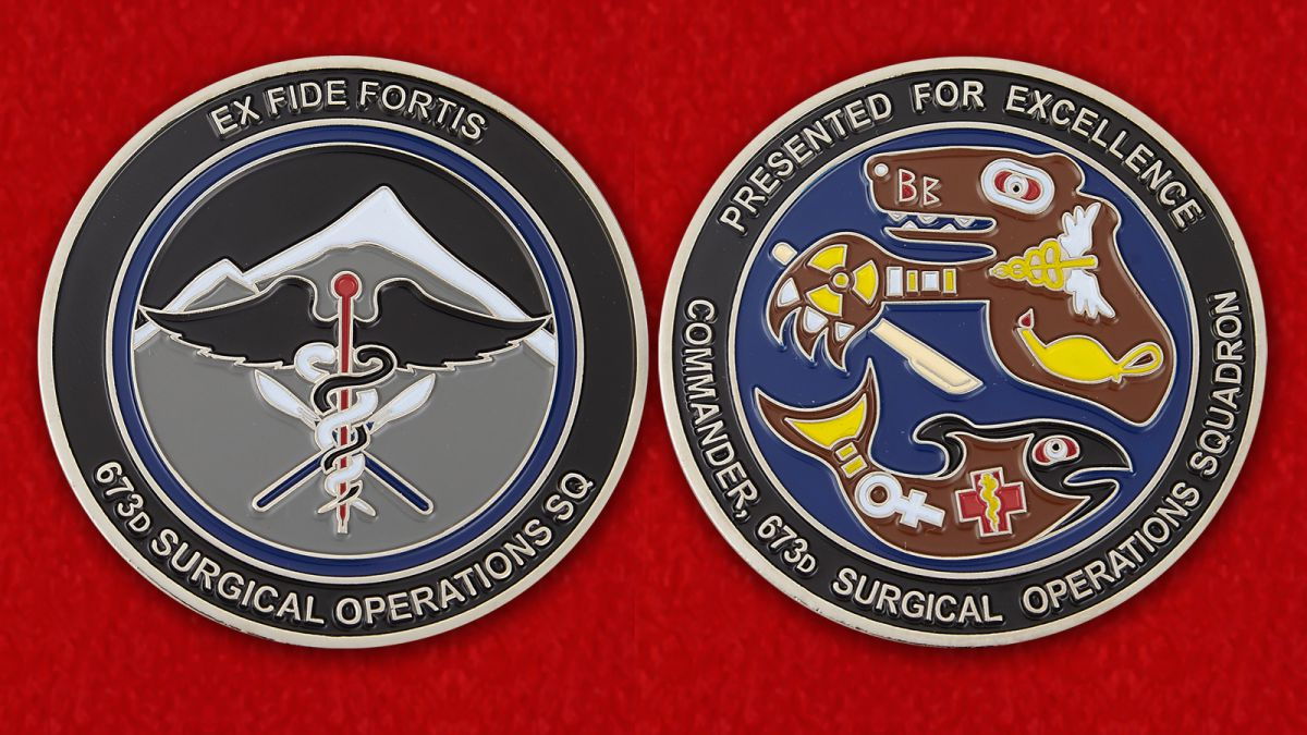 Presented by for Excellence Commander 673d Surgical Operations SQ Challenge Coin - obverse and reverse