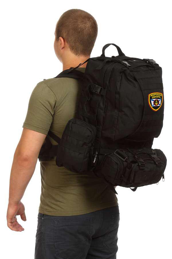 Рейдовый черный рюкзак с подсумками