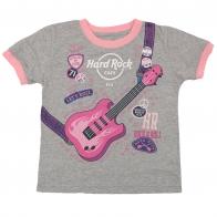 Серо-розовая футболка Hard Rock Cafe с гитарой