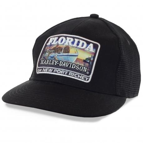 Сетчатая бейсболка с логотипом одного из дилерских центров Harley-Davidson во Флориде. Модный фасон «snapback», практичный цвет, эффектный принт-аппликация
