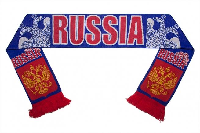 Вязаный шарф с гербом России