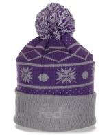 Симпатичная женская шапка FedEx с жаккардовым узором для занятий спортом с отворотом и бубоном
