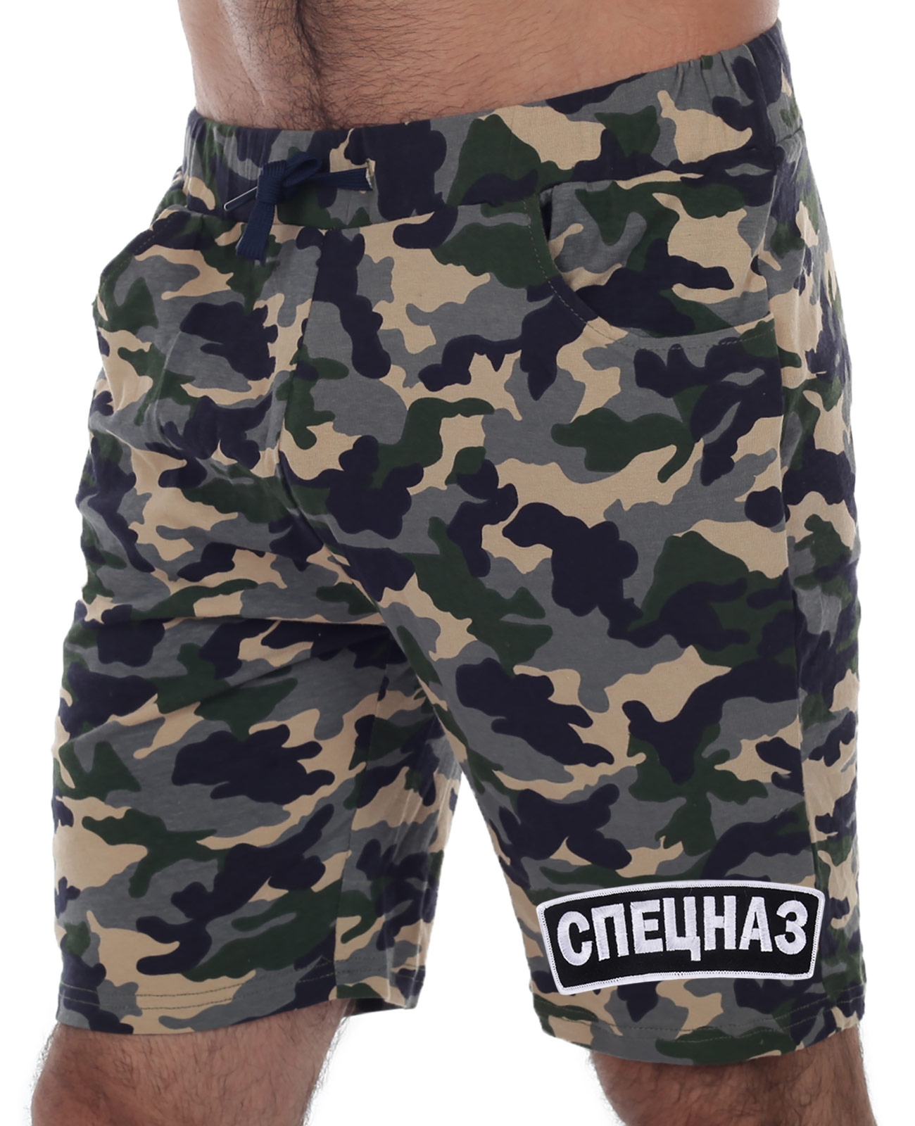 Камуфляжные шорты с вышивкой Спецназ по цене 899 рублей