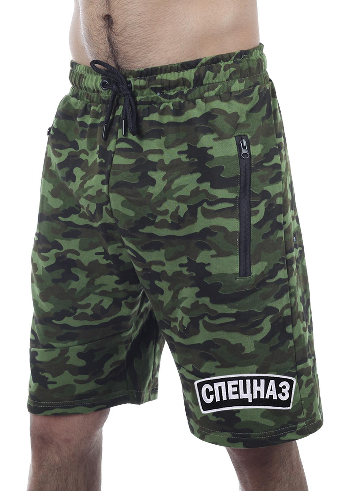 Недорогие военные шорты в зеленом камуфляже