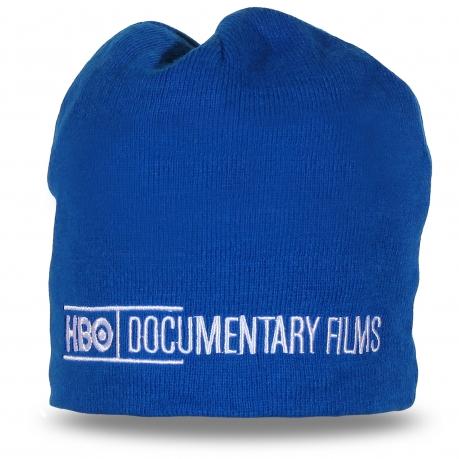 Стильная синяя шапка. Качественная надпись и низкая цена!