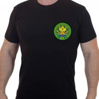Строгая черная футболка с вышивкой Краснознаменный Ханкайский ПО