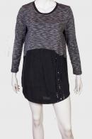 Свободное платье-туника с черной юбкой