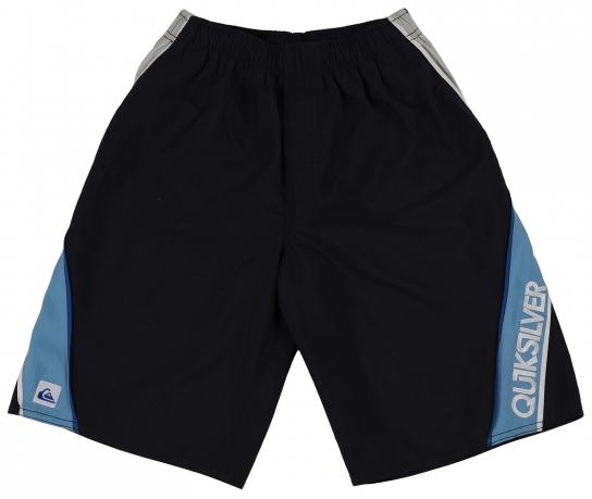 Свободные шорты Quiksilver черного цвета с голубой полоской