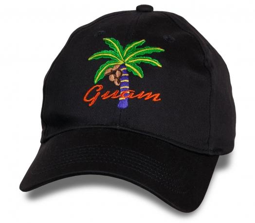 Темная бейсболка с яркой вышивкой Guam