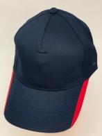 Темно-синяя бейсболка с красными вставками на козырьке